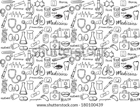 Medical icon vector seamless background - stock vector