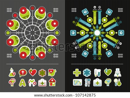 medical icons and infographics - stock vector