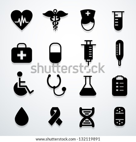 medical icons black vector - stock vector