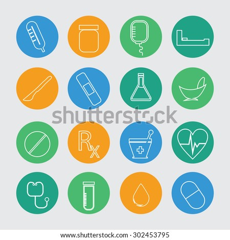 Medical icons, button - stock vector