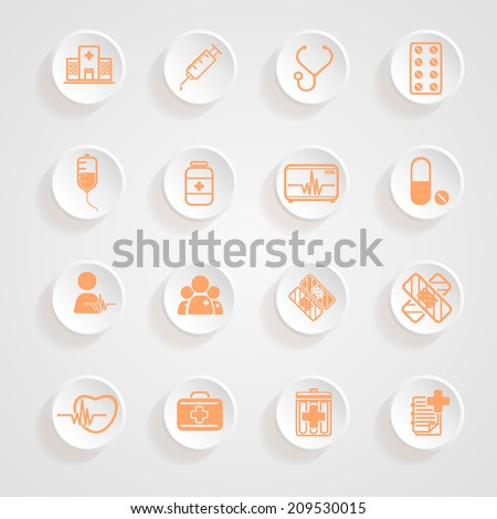 Medical Icons  button shadows  vector set - stock vector