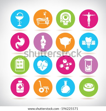 medical icons, colorful buttons