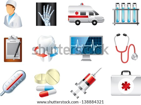 medical icons detailed vector set - stock vector
