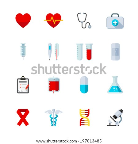 Medical Icons : Flat Icon Set for Web and Mobile Application  - stock vector
