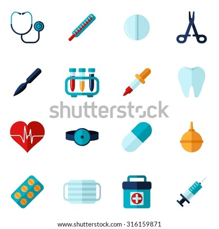 Medical icons flat set with syringe stethoscope bandage isolated vector illustration - stock vector