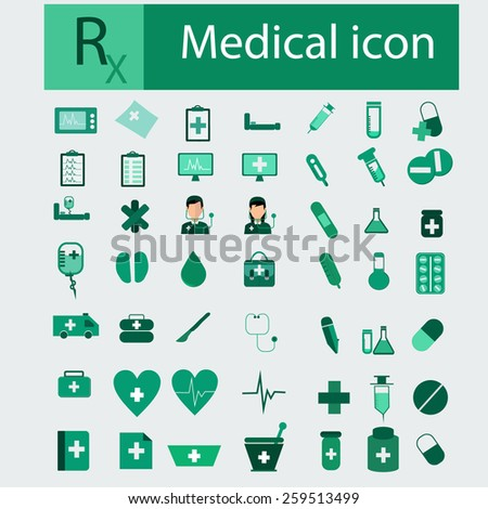 Medical icons green color. - stock vector
