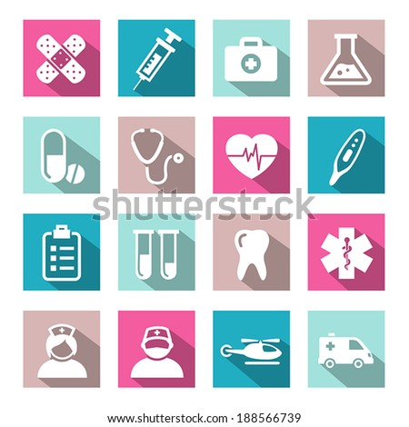 Medical Icons In Flat Design Style - stock vector