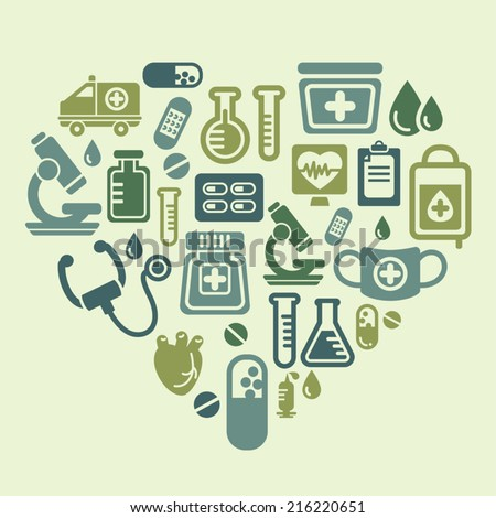 Medical Icons in Heart Shape - stock vector