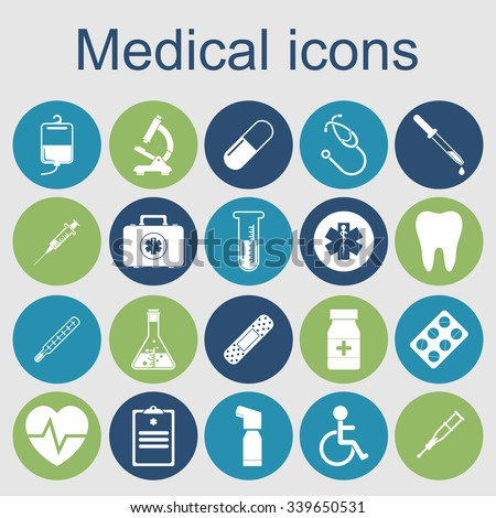 medical icons. medical equipment, tools. concept health and treatment. Vector illustration - stock vector
