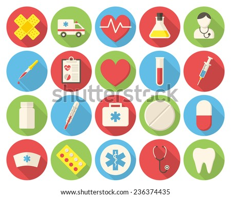 Medical icons, modern flat icons with long shadow - stock vector