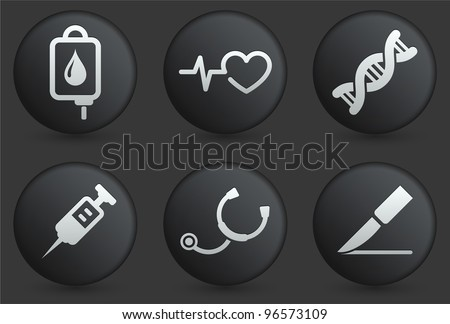 Medical Icons on Black Internet Button Collection Original Illustration - stock vector