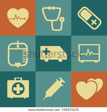 Medical Icons on retro Background.Vector EPS 10 - stock vector