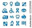 Medical icons set, blue color, isolated on white, vector - stock vector