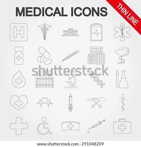 Medical icons set for web and mobile application. Vector illustration on a white background. - stock vector