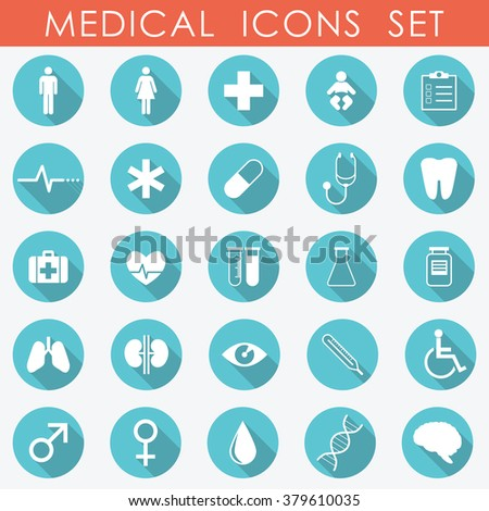 Medical Icons Set green and red - vector eps10 - stock vector