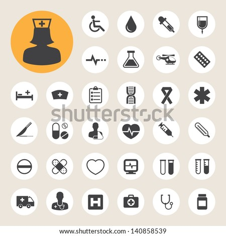 Medical icons set, . Illustration eps 10 - stock vector