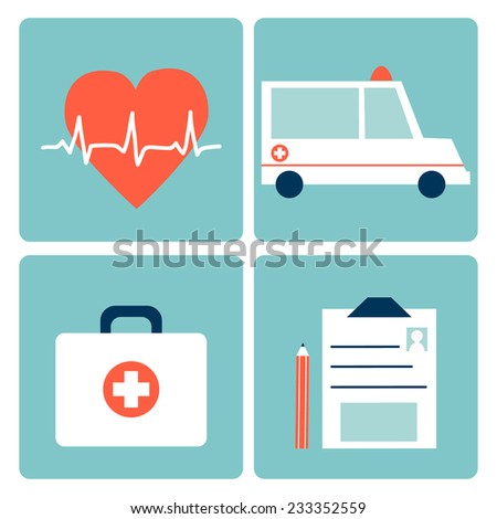 Medical Icons set in flat style. Perfect for your design.  - stock vector