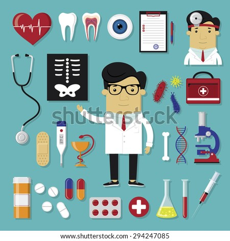Medical icons set in modern flat style - stock vector