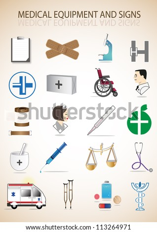 Medical Icons Set - Isolated On Background - Vector Illustration, Graphic Design Editable For Your Design - stock vector