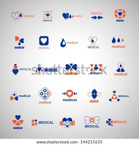 Medical Icons Set - Isolated On Gray Background - Vector Illustration, Graphic Design Editable For Your Design. Medical Logo - stock vector