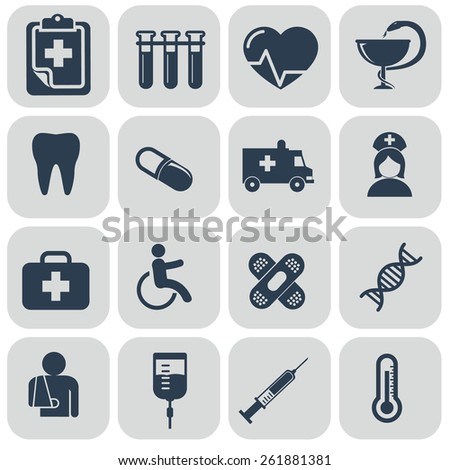 Medical Icons set on grey background. - stock vector