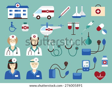 medical icons set (vector illustration) - stock vector