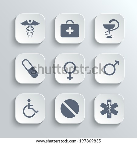 Medical icons set - vector white app buttons with first aid kit caduceus pills man woman gender and disabled symbols - stock vector
