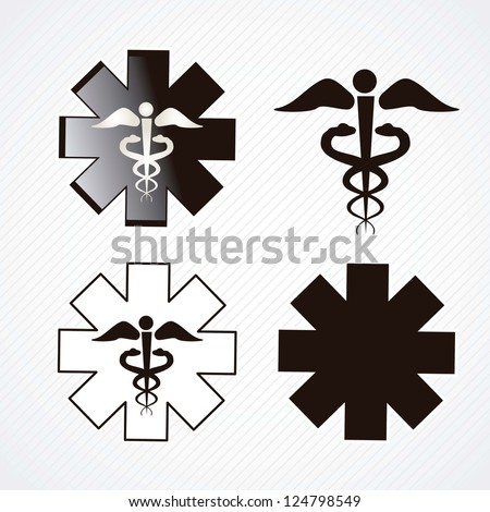 Medical icons silhouette on grey background.vector illustration - stock vector