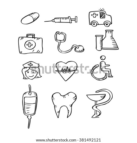 Medical Icons. Sketchy style illustration. - stock vector