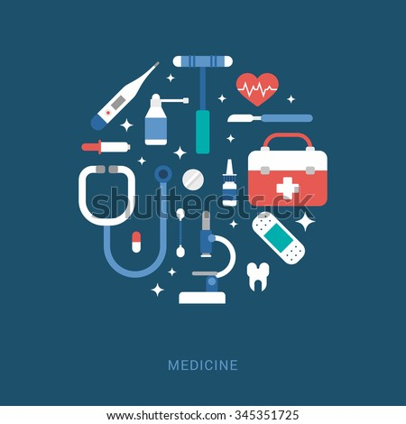 Medical Icons the Shape of Circle. Suitcase, Thermometer, Patch, Microscope, Pipette, Scalpel, Spray, Phonendoscope. Vector Illustration in Flat Design Style for Web Banners or Promotional Materials
