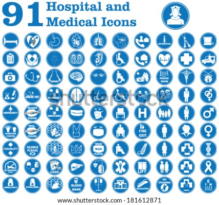 Medical icons used in hospital and signs like doctor, patient, ambulance, medicines, surgery and other signs inside and outside the hospital building  etc. - stock vector
