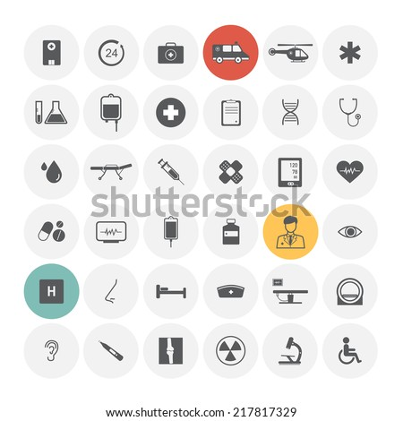 Medical icons. Vector Illustration. - stock vector