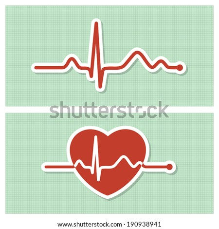 Medical icons with healthy cardiogram line in vintage paper style