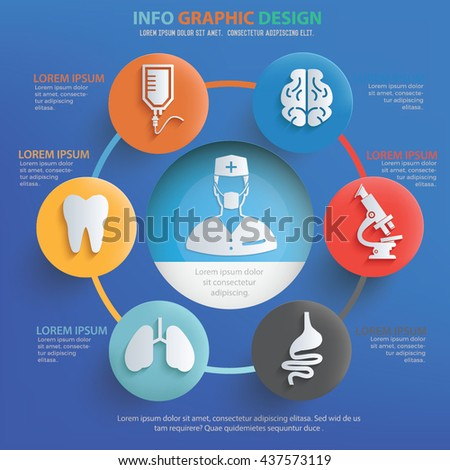 Medical info graphic design on blue background,vector