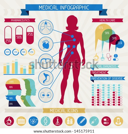Medical infographic elements collection. - stock vector