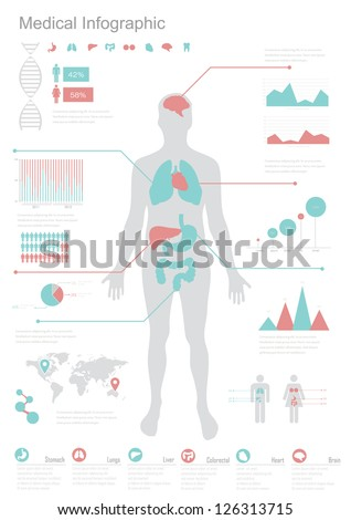 Medical Infographic set. Vector illustration. - stock vector