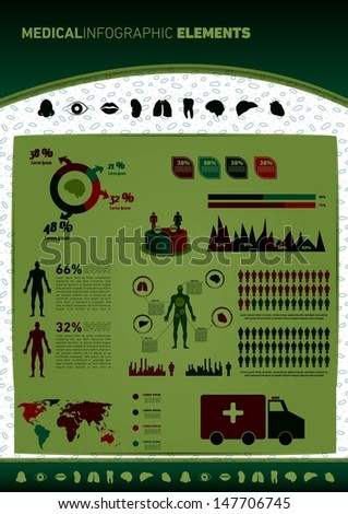 Medical Infographic set with charts. Vector illustration. - stock vector
