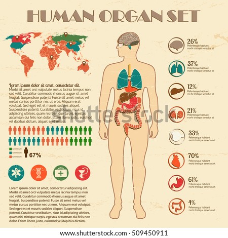 Medical infographic set with human silhouette and world map vector Illustration
