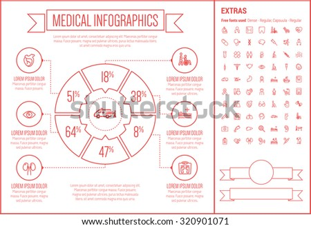 Medical infographic template and elements. The template includes the following set of icons - stethoscope, adhesive bandage, medical symbol, bacteria, medicine and cup and more. Modern minimalistic - stock vector
