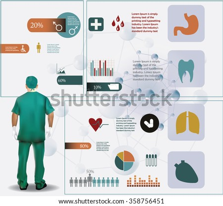 Medical infographic with medical elements, doctor prepared for operation in green dress - stock vector