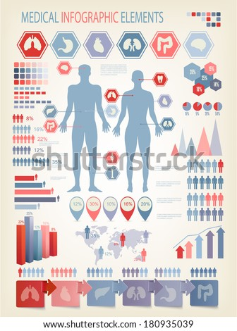 Medical infographics elements. Human body. Vector. - stock vector