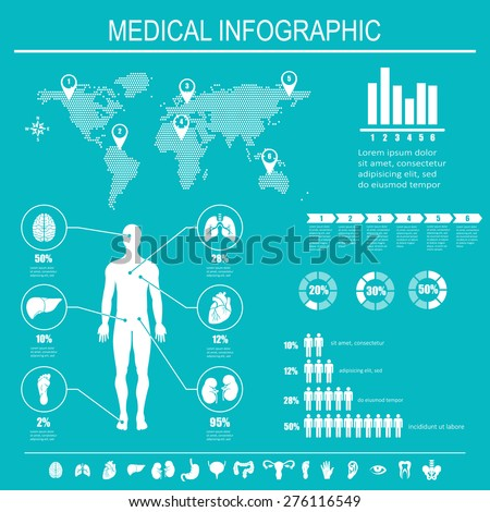 Medical infographics elements. Human body with internal organs. Vector illustration. - stock vector