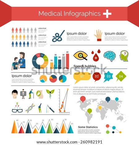 Medical infographics set with human anatomy healthcare symbols charts and world map vector illustration - stock vector