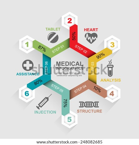 Medical infographics template with icons - stock vector