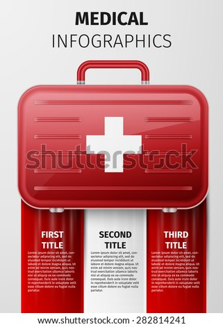 Medical infographics with medical suitcase. Excellent vector illustration, EPS 10 - stock vector