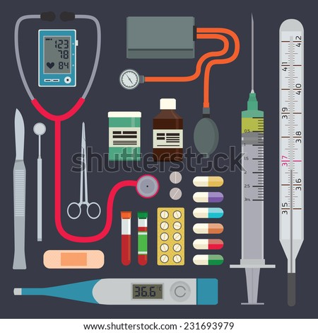 Medical instruments and equipment - stock vector