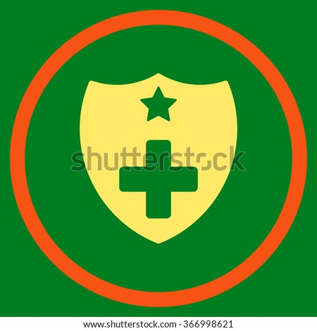 Medical Insurance Shield vector icon. Style is bicolor flat circled symbol, orange and yellow colors, rounded angles, green background.