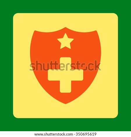 Medical Insurance vector icon. Style is flat rounded square button, orange and yellow colors, green background.