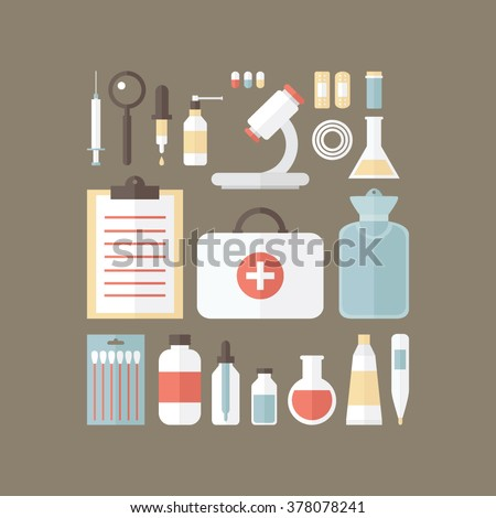 Medical kit. Big set of different objects. Health care illustration. Icon flat design.
