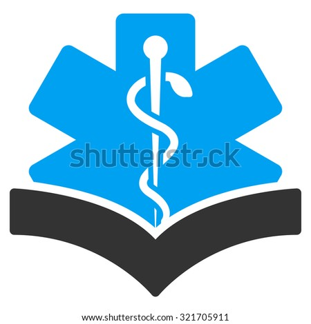 Medical Knowledge vector icon. Style is bicolor flat symbol, blue and gray colors, rounded angles, white background. - stock vector